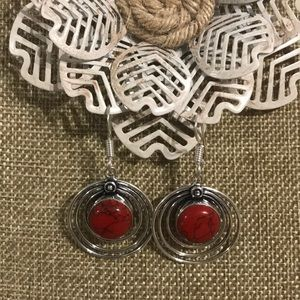 Red Howlite Earrings Sterling/ Plated combo